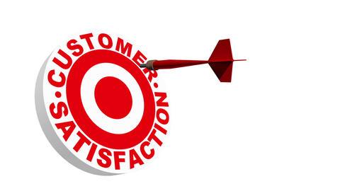 3d Dart Hitting Customer Satisfaction Bullseye Stock Video Footage