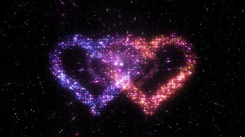 Space flash Heart Double c 2a HD Stock Video Footage