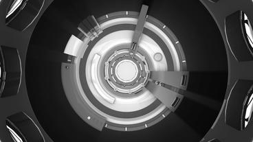 metal data tunnel,science fiction rotate round... Stock Video Footage