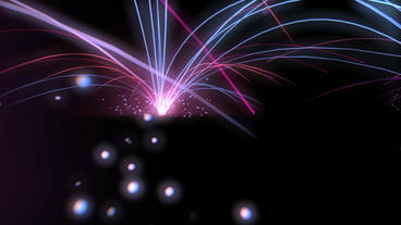 rotate curve rays fiber & falling particles,holiday fireworks Animation