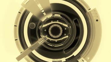 metal data tunnel,science fiction rotate round air Stock Video Footage