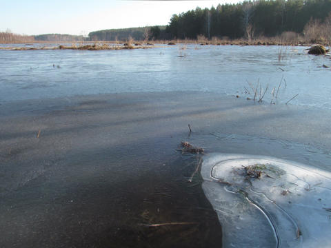 Morning comes. Ice begins to melt. Time Lapse. 4x3 Footage