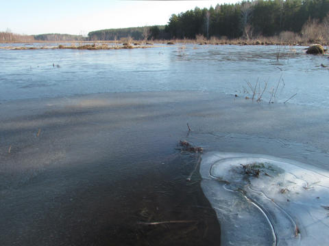 Morning comes. Ice begins to melt. Time Lapse. 4x3 Stock Video Footage