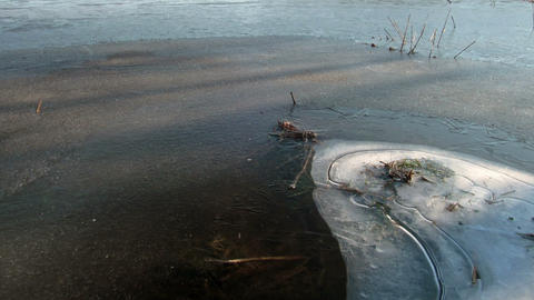 Morning comes. Ice begins to melt. Time Lapse Footage