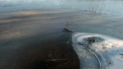 Morning comes. Ice begins to melt. Time Lapse Stock Video Footage