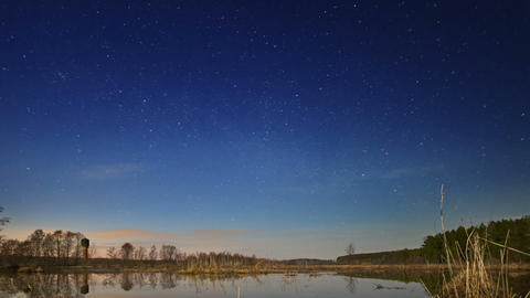 Sunset and starry sky reflected in lake. Fixed dis Footage