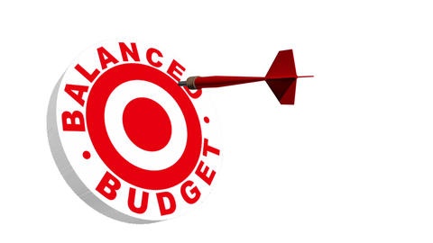 Balanced Budget 3D Dartboard Stock Video Footage