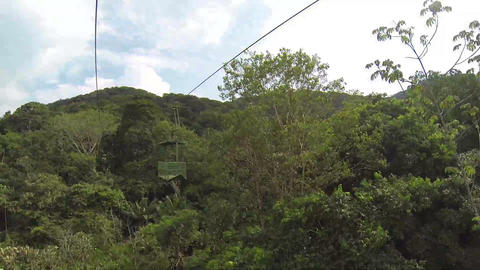 Cableway with air tram in the forest Stock Video Footage