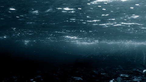 Dark river underwater shot Stock Video Footage