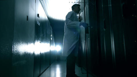 Scientist in data center Footage