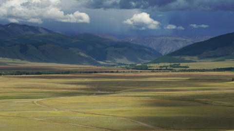 Time Lapse Mountain Valley and Rain Clouds Stock Video Footage