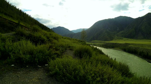 Time Lapse Panorama of Mountain River Valley Stock Video Footage