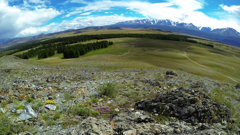 Time Lapse Panorama of Steppe in Mountains Footage