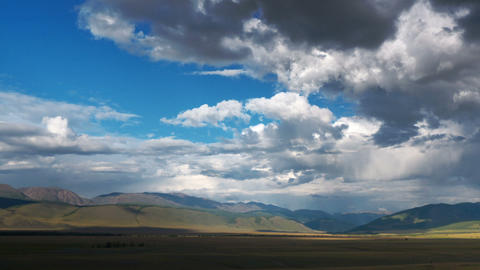 Time Lapse Steppe landscape with clouds Stock Video Footage