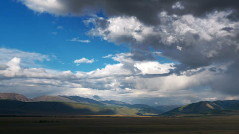 Time Lapse Steppe landscape with clouds Footage