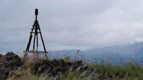 Wooden geodesic tower in Mountain landscape Stock Video Footage