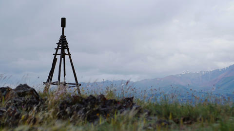 Wooden Geodesic Tower In Mountain Landscape stock footage