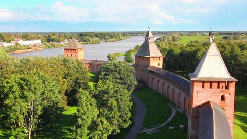 Veliky Novgorod - view from Kokuy tower on Kremlin Stock Video Footage