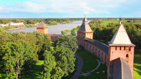 Veliky Novgorod - View From Kokuy Tower On Kremlin stock footage