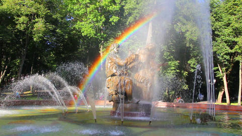 Veliky Novgorod - Sadko fountain with rainbow Stock Video Footage