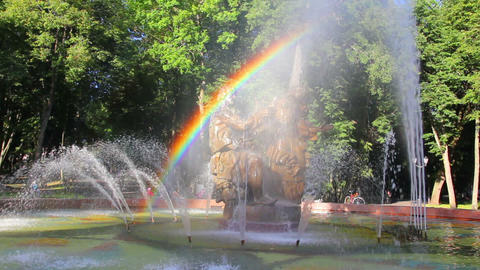Veliky Novgorod - Sadko fountain with rainbow Footage