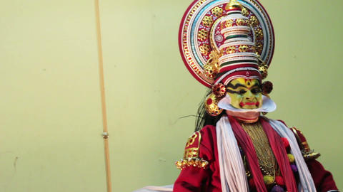 Kathakali - national theatrical performance in Ker Stock Video Footage