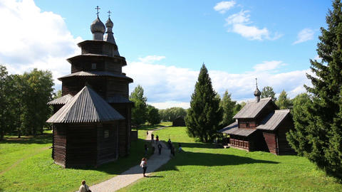 Veliky Novgorod - museum of old russian wooden arc Stock Video Footage
