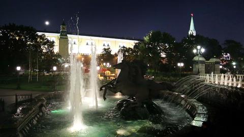 Sculptural group Four Seasons fountain Geyser - Ma Stock Video Footage