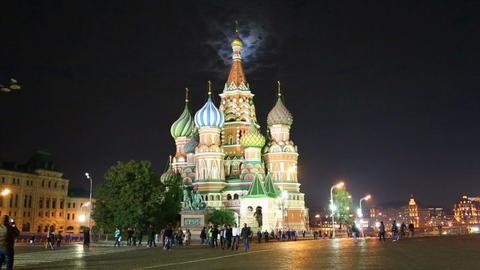 St. Basil Church (Vasiliy Blazhenniy) and moon lig Stock Video Footage