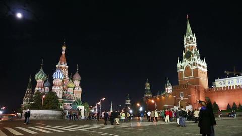 Kremlin and St. Basil Church (Vasiliy Blazhenniy) Stock Video Footage