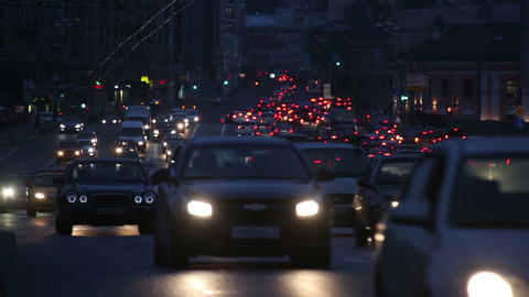 evening car traffic at rush hour in moscow Stock Video Footage