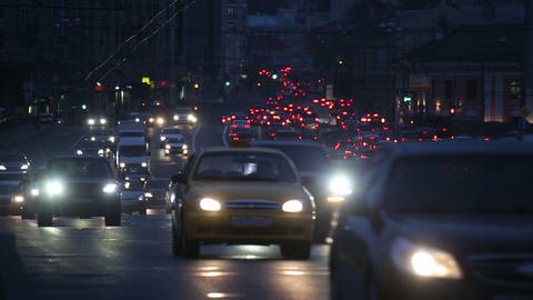 evening car traffic at rush hour in moscow Footage