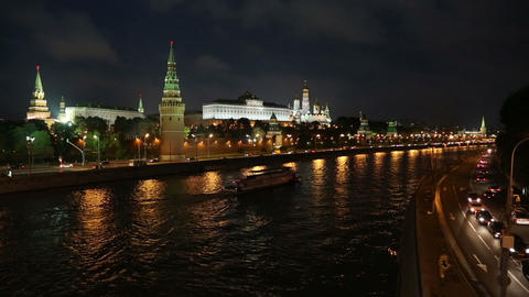 Moscow Kremlin and ship on river at night - Russia Footage