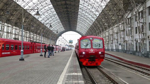 Red Train Arrives At The Kiev Station In Moscow Ru stock footage