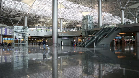 airport terminal modern interior Stock Video Footage