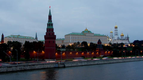 Moscow Kremlin and ships on river - from day to ni Footage