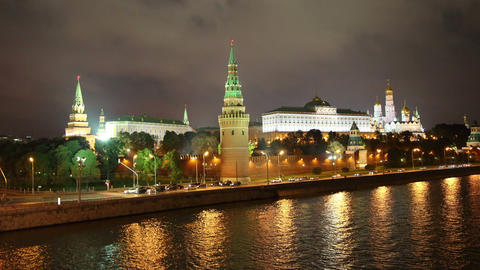 Moscow Kremlin and ships on river at night - hyper Stock Video Footage