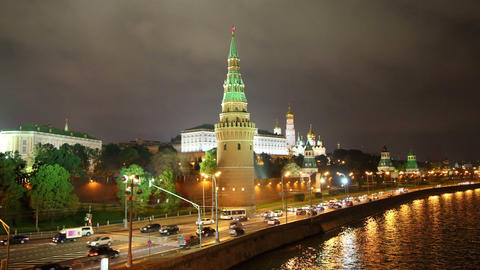 Moscow Kremlin and ships on river at night - hyper Footage