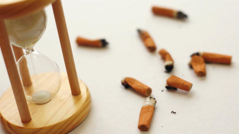 Time to Quit Smoking Hourglass Stock Video Footage