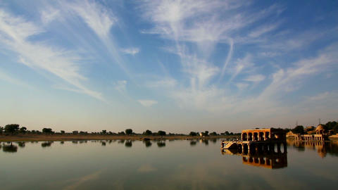 landscape with palace on lake in Jaisalmer India Stock Video Footage