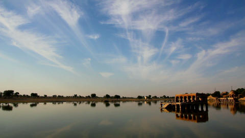 landscape with palace on lake in Jaisalmer India Footage
