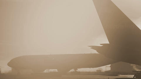 Hazy morning at the airport Stock Video Footage