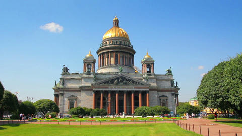 isaakiy cathedral church in Saint-petersburg, Russ Stock Video Footage