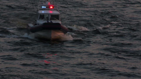police boat in dusk Stock Video Footage