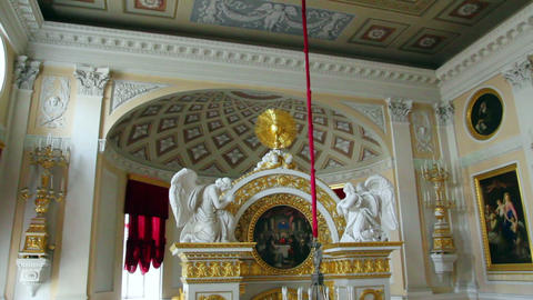 church interior in Pavlovsk palace St. Petersburg Stock Video Footage