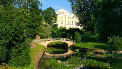 centaurs bridge and palace in Pavlovsk park St. Pe Stock Video Footage