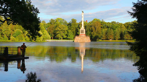 monument on lake in Pushkin park St. Petersburg Footage