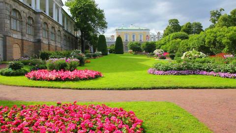 flower garden in Pushkin park St. Petersburg Russi Stock Video Footage