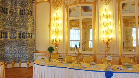Palace Interior In Pushkin St. Petersburg Russia stock footage