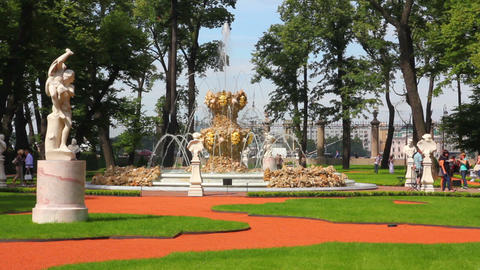 renovated Summer garden park in St. Petersburg Rus Live Action